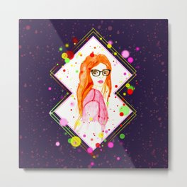 Watercolor red head girl with glasses Metal Print
