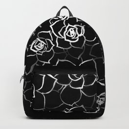 White ink. graphic with white ink and black cardboard. flowers Backpack