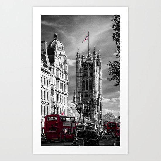 Red London Buses and Westminster Cathedral Art Print