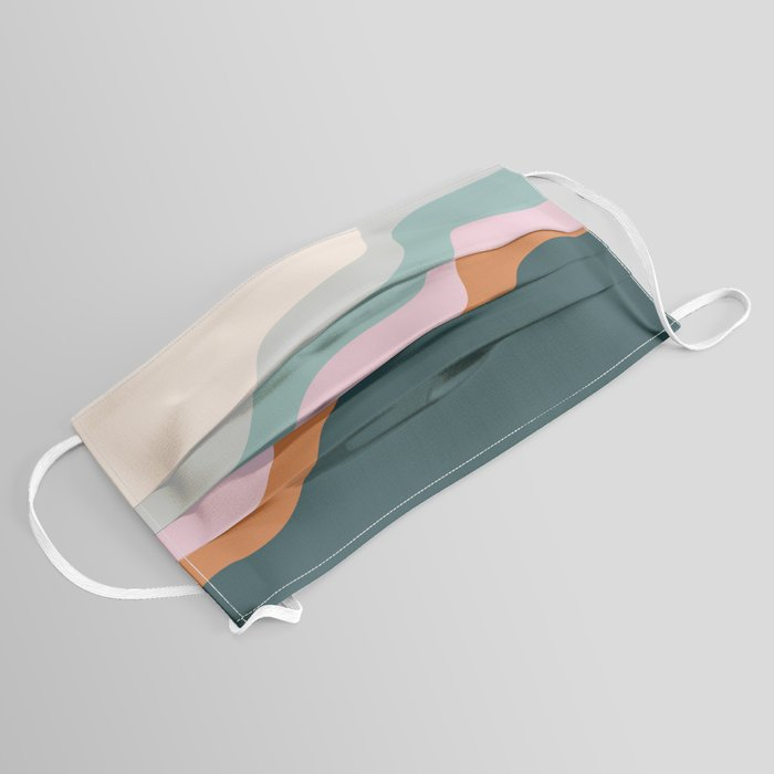 Abstract Diagonal Waves in Teal, Terracotta, and Pink Face Mask