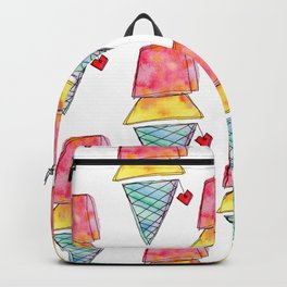 Love You More Than Ice Cream Pattern Food Illustration Love Painting Backpack