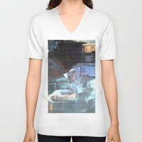 broadway V-neck T-shirts featuring Midnight Broadway East No.46 by Xi By Xi Chen