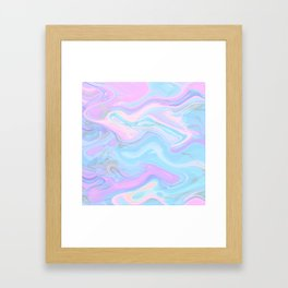 Sea Marble Candy Pattern - Violet, Aqua and Blue Framed Art Print