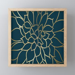 Festive, Floral Prints, Line Art, Dark Teal and Gold Framed Mini Art Print