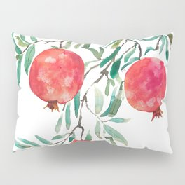 red pomegranate watercolor Pillow Sham
