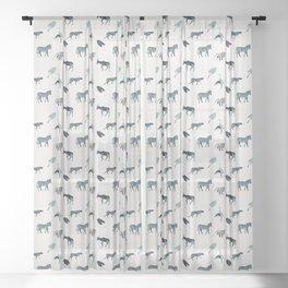 Wild animals in blue Sheer Curtain