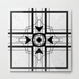 Black and White Block  Pattern Design Metal Print