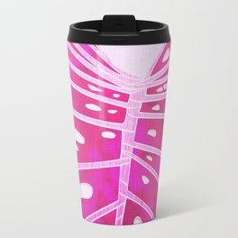 Monstera Leaf Close Up - Tropical Pink Palette Travel Mug