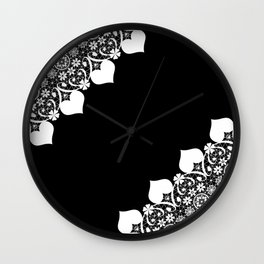 Retro . White lace on a black background . Wall Clock