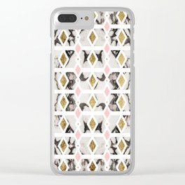 Modern Marble Gold Blush Pink Geometric Clear iPhone Case