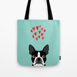 Boston Terrier - Hearts, Cute Funny Dog Cute Valentines Dog, Pet, Cute, Animal, Dog Love,  Tote Bag