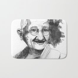 Will & Strength (Ghandi) by carographic Bath Mat