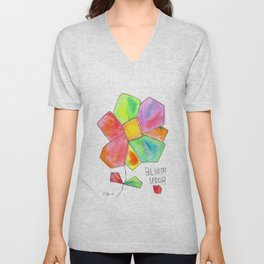 """""""Bloom Your LOVE"""" Original Watercolor Painting by Lenna Arty Unisex V-Neck"""