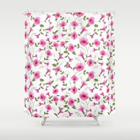 gift card Shower Curtains featuring vintage floral card by Kotkoa