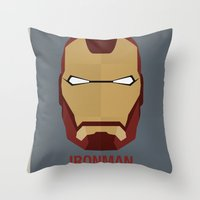 ironman Throw Pillows featuring IRONMAN by Alejandro de Antonio Fernández