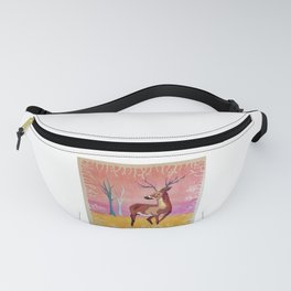 Floral Deer Acrylic Painting Fanny Pack