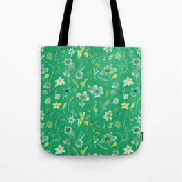 Verdant Flowers on Emerald Background Tote Bag