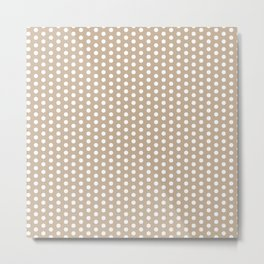 White dots in light brown background Metal Print