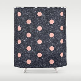Black Glitter and Pink Polka Dots Shower Curtain