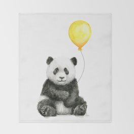 Panda Watercolor Animal with Yellow Balloon Nursery Baby Animals Throw Blanket