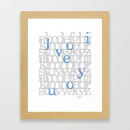 The ABC of i love you. In Blue.  Framed Art Print