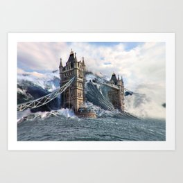 London Bridge Shower Art Print