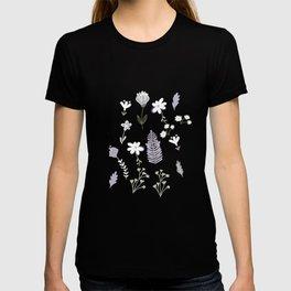 Dark Pastel Violet Flower Pattern T-shirt