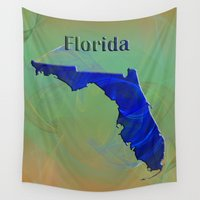 florida Wall Tapestries featuring Florida Map by Roger Wedegis