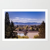 portland Art Prints featuring PORTLAND by Pitter Patterns