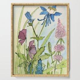 Columbine Garden Flower Watercolor Serving Tray
