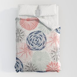 Floral Pattern in Coral Red, Navy Blue and Aqua Comforters