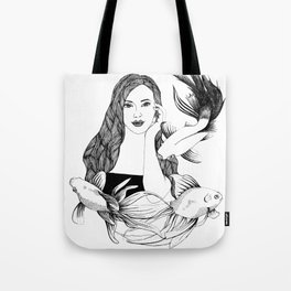 Woman with fishes - Ink artwork Tote Bag