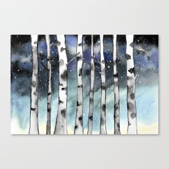 Birch Shadows In Winter Canvas Print