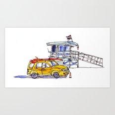 Yellow Lifeguard Truck Art Print