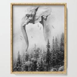 Elephant | Animal Photography | B&W | Nature | Fog | Wildlife | Abstract | Landscape Serving Tray