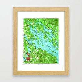 Vintage Map of Lake Winnipesaukee (1956) Framed Art Print