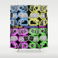 guinea pig Shower Curtains featuring I love Guinea pigs by Jane Holloway