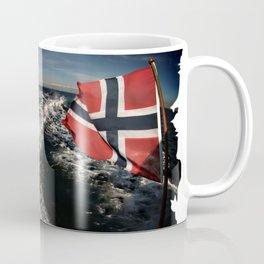 Speedboat running fast with norwegian flag Coffee Mug