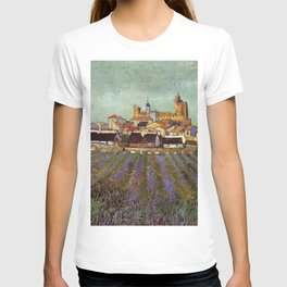 Lavender fields and View of Saintes-Maries by Vincent van Gogh T-shirt