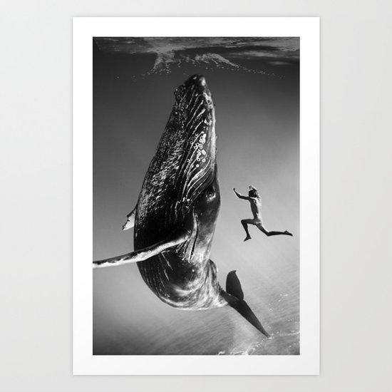 la baleine et le nageur Art Print