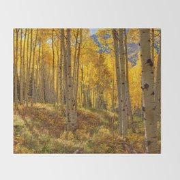 Autumn Aspen Forest Aspen Colorado Throw Blanket