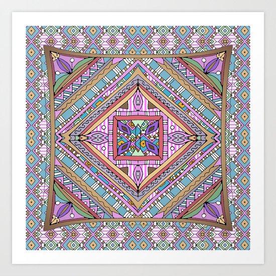 Sweet Funky Retro Mandala Art Print