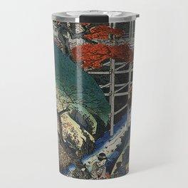 Hiroshige People under maple trees by a stream Travel Mug
