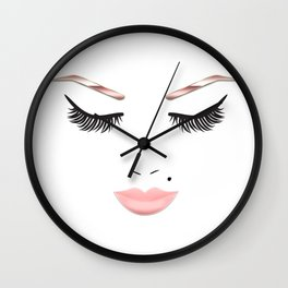 Rose Gold Beauty Face Wall Clock