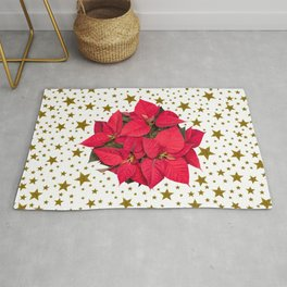 Red Christmas flower and sparkly gold stars Rug