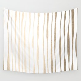 White Gold Sands Ink Pinstripes Wall Tapestry