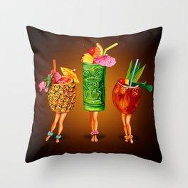 Tiki Cocktail Pin-Ups - Black Throw Pillow