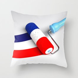 Roller paint brush giving to a white surface the colors of the french flag - 3D rendering illustrati Throw Pillow