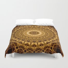 Golden ornamented mandala Duvet Cover