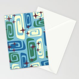 Mid Century Modern Cosmic Galaxies 728 Blue Green and Cream Stationery Cards